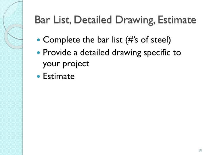 Bar List, Detailed Drawing, Estimate