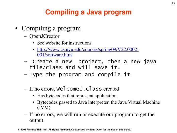 Compiling a Java program