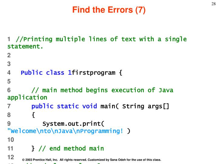Find the Errors (7)