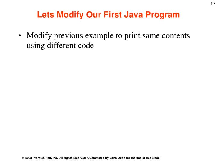 Lets Modify Our First Java Program