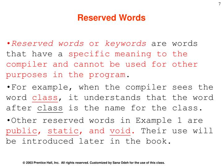Reserved Words