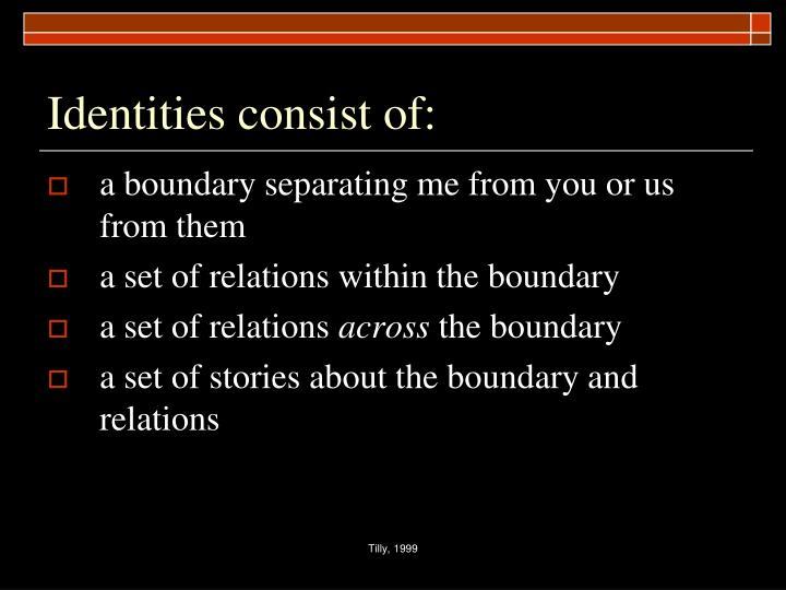 Identities consist of: