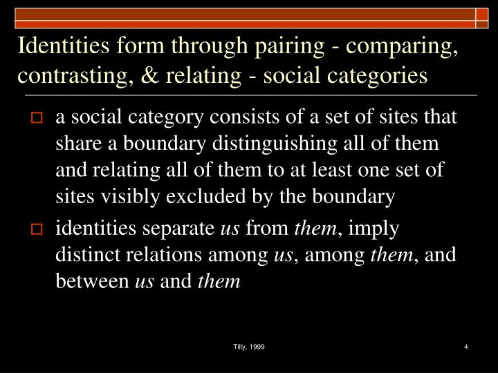 Identities form through pairing - comparing, contrasting, & relating - social categories