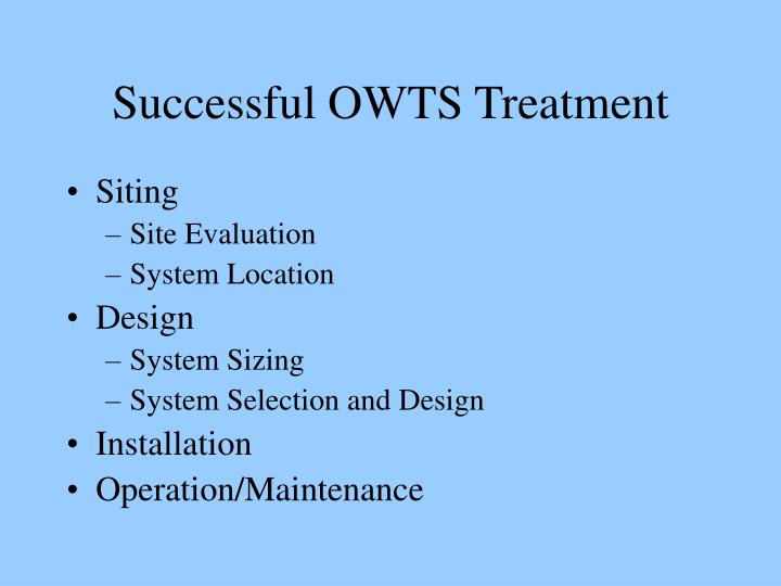 Successful owts treatment