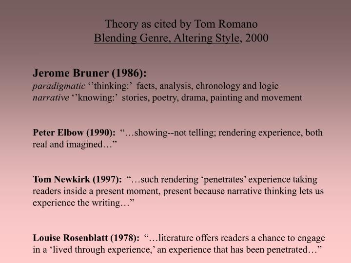 Theory as cited by Tom Romano
