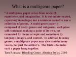 what is a multigenre paper