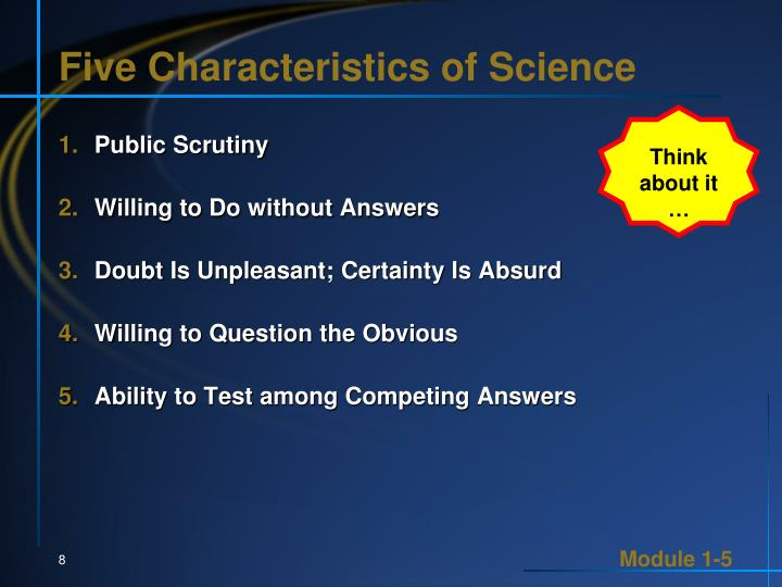 Five Characteristics of Science