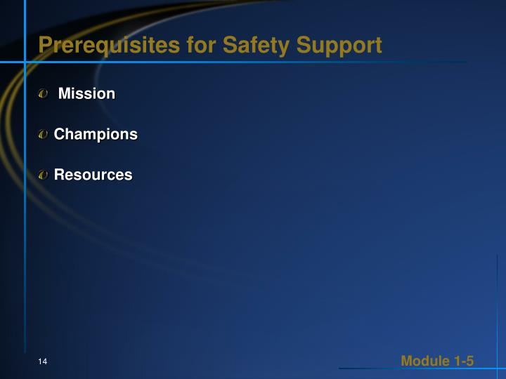 Prerequisites for Safety Support