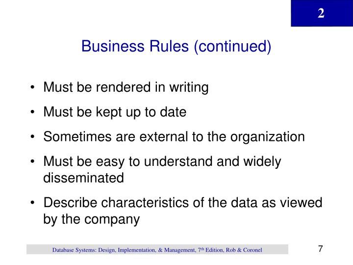 Business Rules (continued)