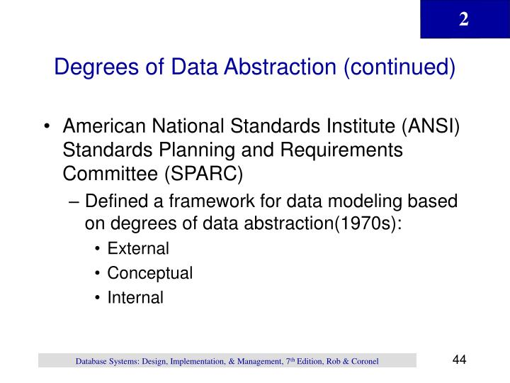 Degrees of Data Abstraction (continued)
