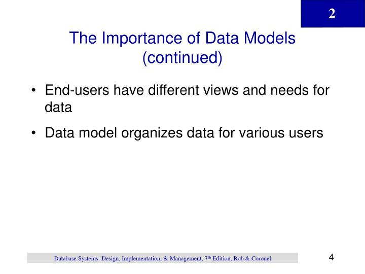 The Importance of Data Models (continued)