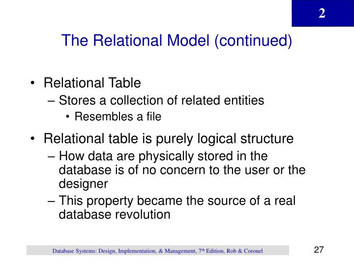 The Relational Model (continued)