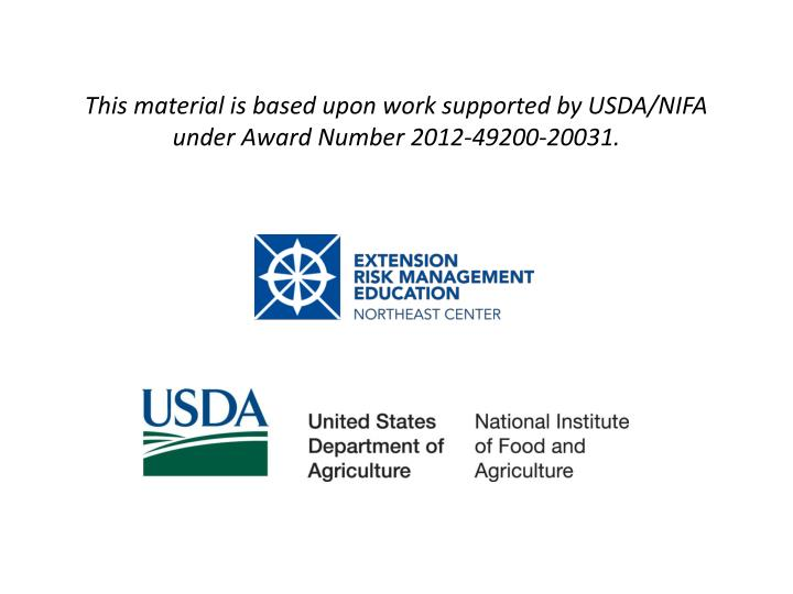 this material is based upon work supported by usda nifa under award number 2012 49200 20031