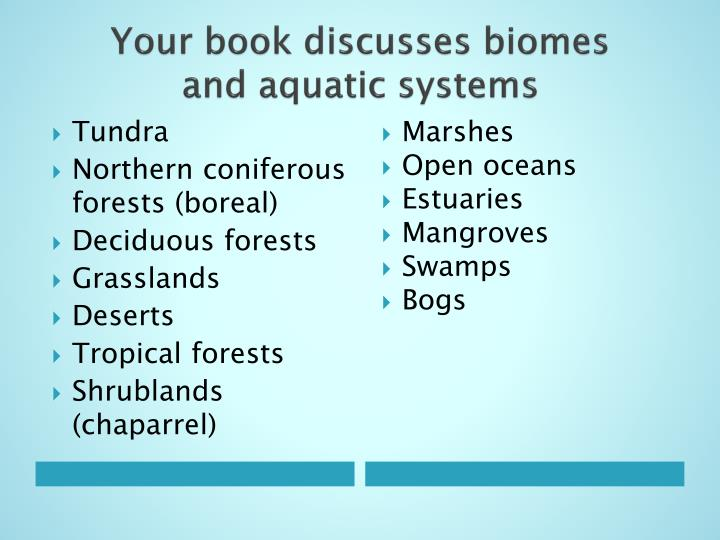 Your book discusses biomes and aquatic systems