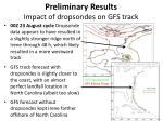 preliminary results impact of dropsondes on gfs track1