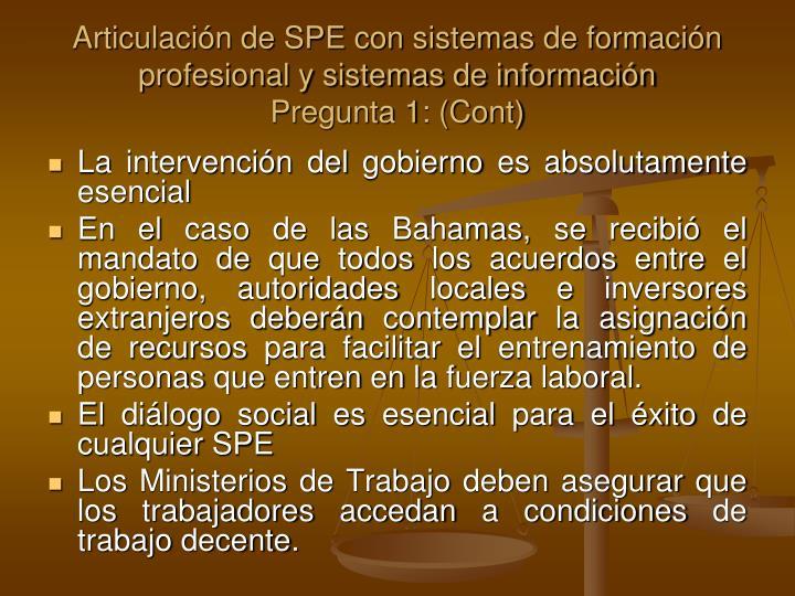 Articulación de SPE con sistemas de formación profesional y sistemas de información