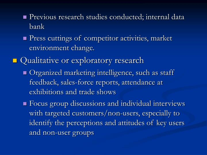 Previous research studies conducted; internal data bank