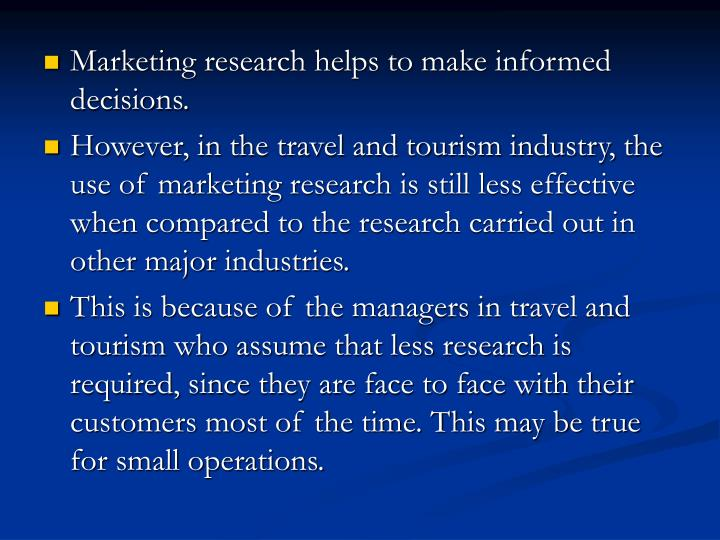 Marketing research helps to make informed decisions.