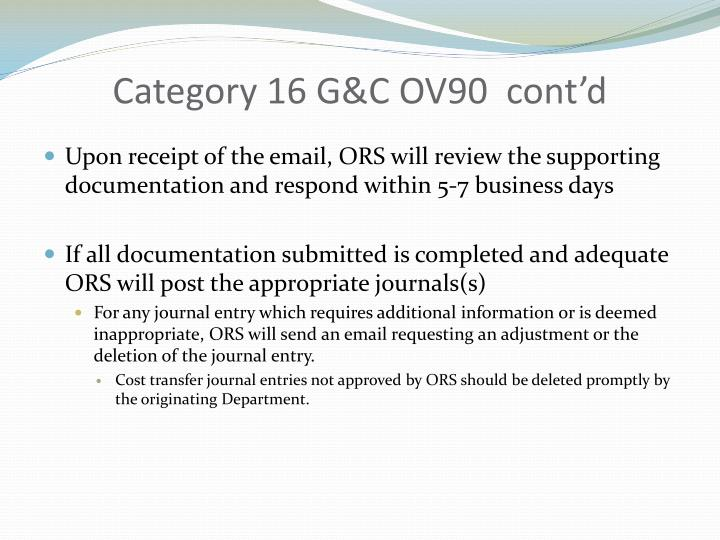 Category 16 G&C OV90  cont'd
