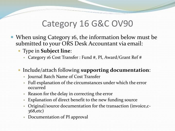 Category 16 G&C OV90