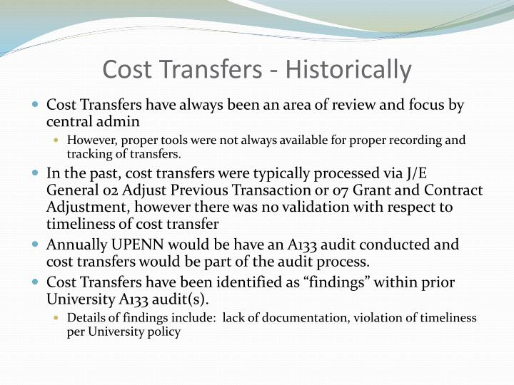 Cost Transfers - Historically
