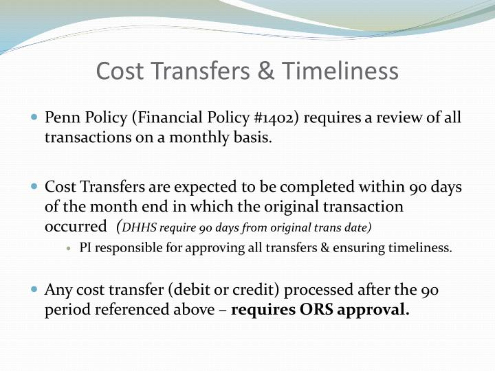 Cost Transfers & Timeliness