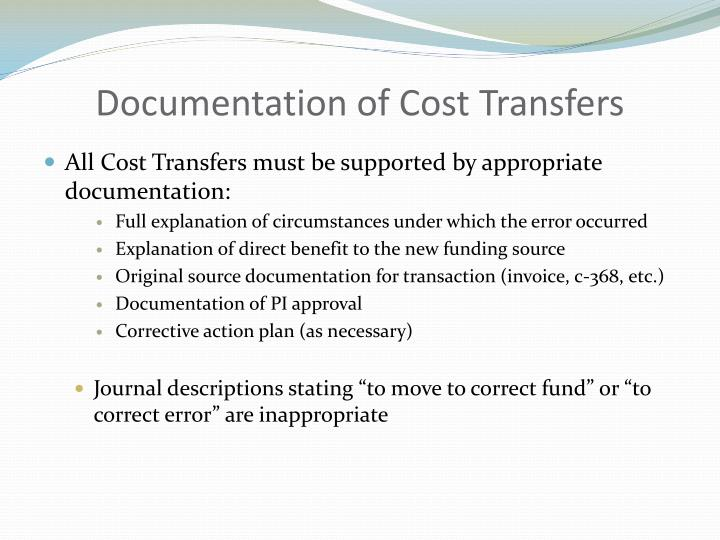 Documentation of Cost Transfers