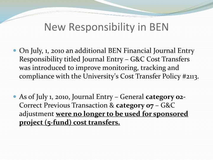 New Responsibility in BEN