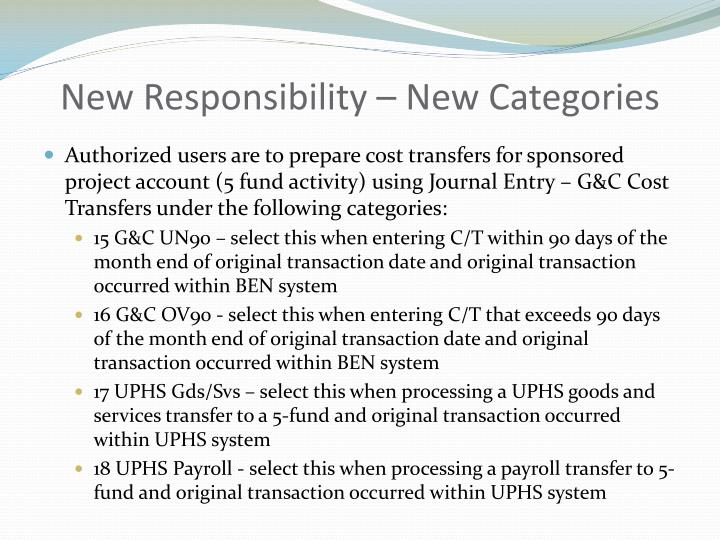 New Responsibility – New Categories