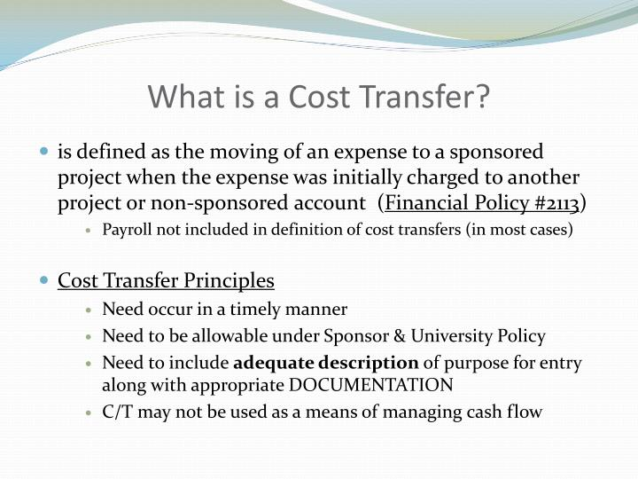 What is a Cost Transfer?