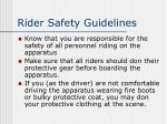 rider safety guidelines