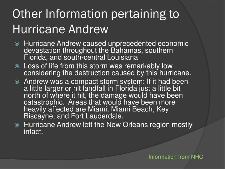 Other Information pertaining to Hurricane Andrew