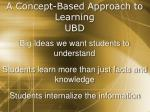 a concept based approach to learning ubd