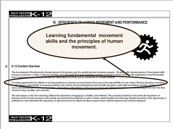 Learning fundamental  movement skills and the principles of human movement.