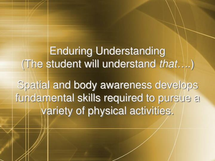 Enduring Understanding                          (The student will understand
