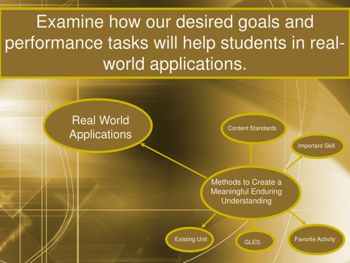 Examine how our desired goals and performance tasks will help students in real-world applications.