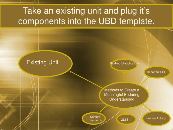 Take an existing unit and plug it's components into the UBD template.