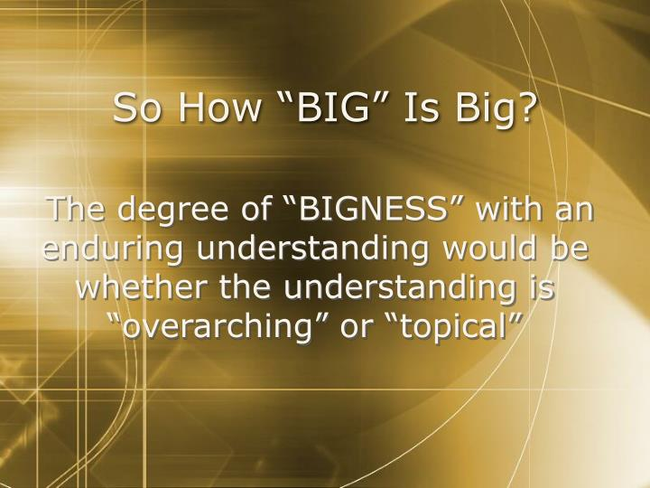 "So How ""BIG"" Is Big?"