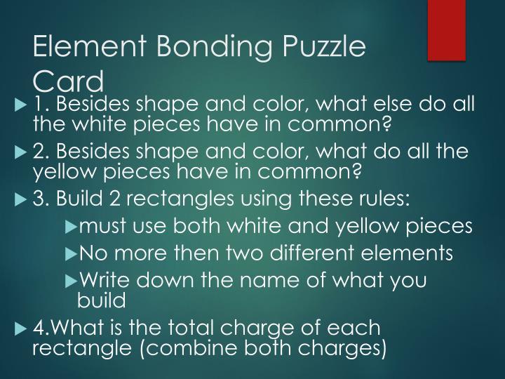 Element Bonding Puzzle Card