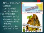 inner transition metals lanthanides and actinides