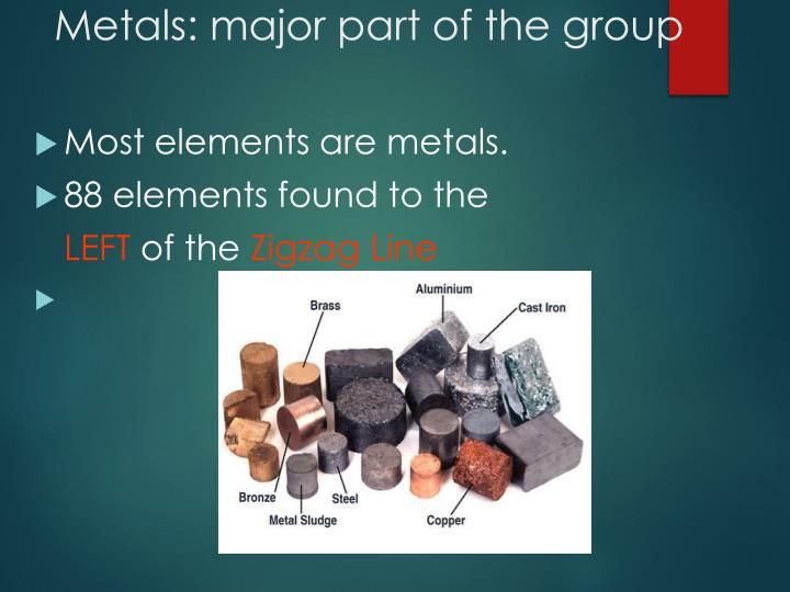 Metals: major part of the group
