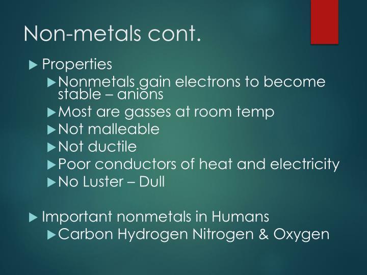 Non-metals cont.