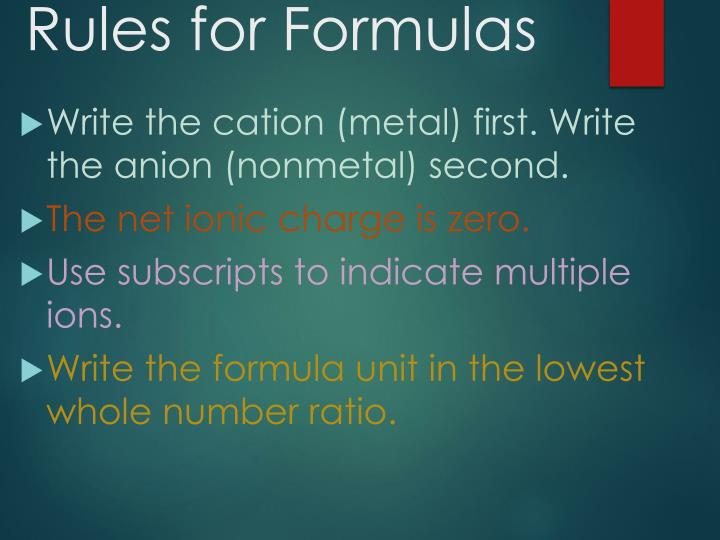 Rules for Formulas