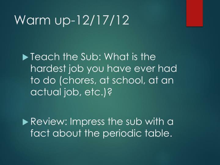 Warm up-12/17/12