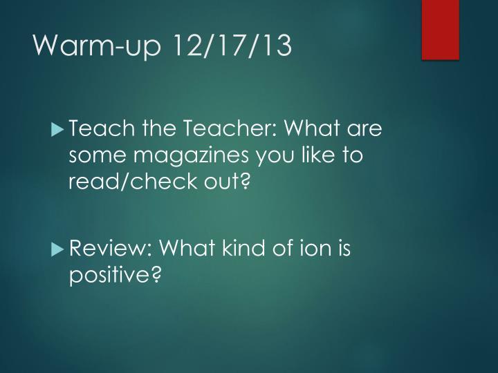 Warm-up 12/17/13
