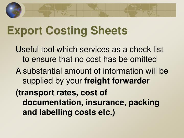 Export Costing Sheets