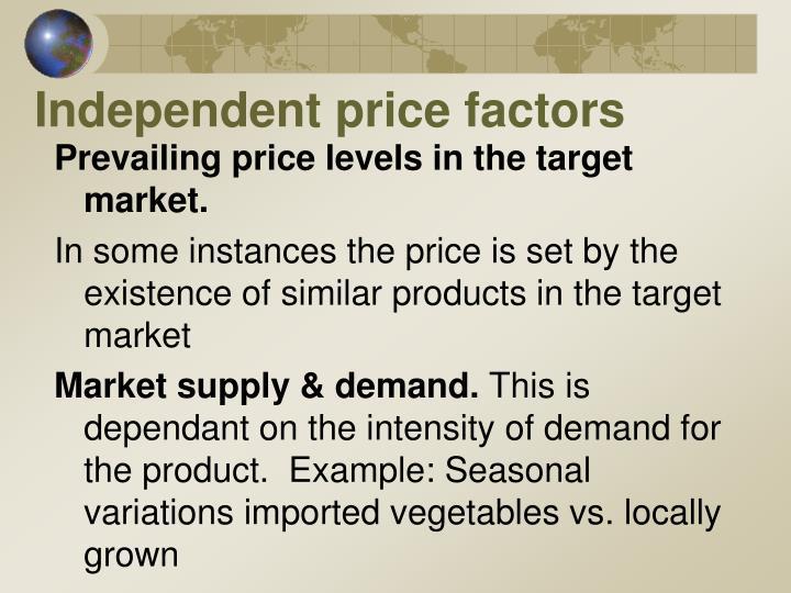 Independent price factors