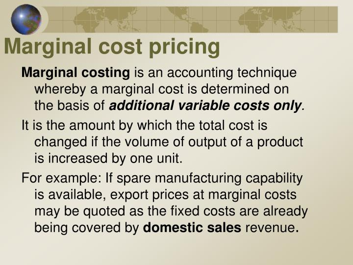 Marginal cost pricing