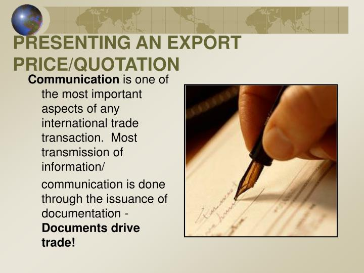 PRESENTING AN EXPORT PRICE/QUOTATION
