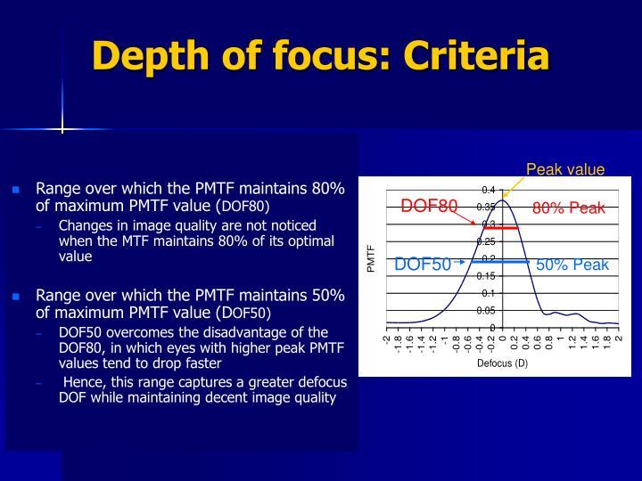 Depth of focus: Criteria